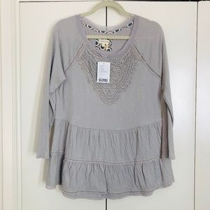 ANTHROPOLOGIE Gray Lace Bib Ruffle Tunic Sz L NWT